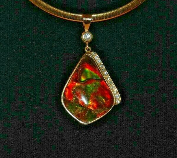 Ammolite Pendant 14K YG 1.00 ctw Diamonds  Specatular Bling  Custom One of Kind
