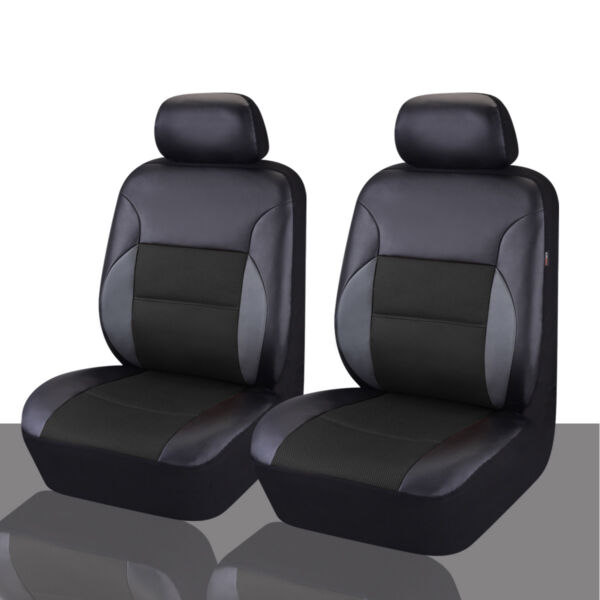 CAR PASS Car Seat Cover Sandwich Leather Universal for 2 Front Seat Detachable $27.99