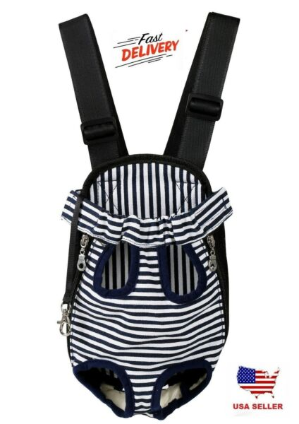 Small Pet Cat Puppy Dog Carrier Front Pack Hiking Backpack Head Legs Out Stripe $13.29