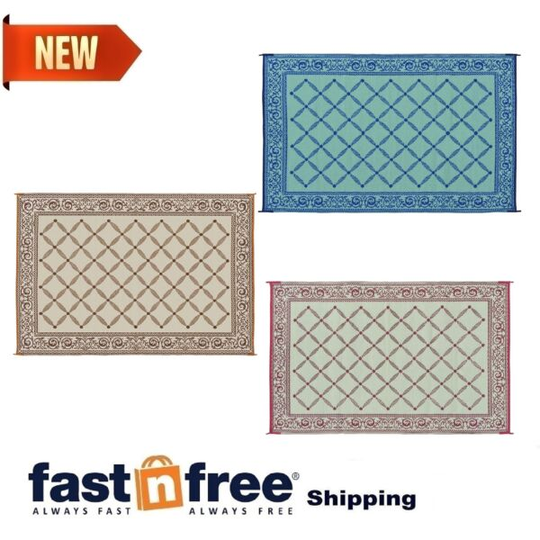 Camping Reversible Mat 6x9#x27; 9x12#x27; Area Rugs Trailer Outdoor Patio RV Accessories