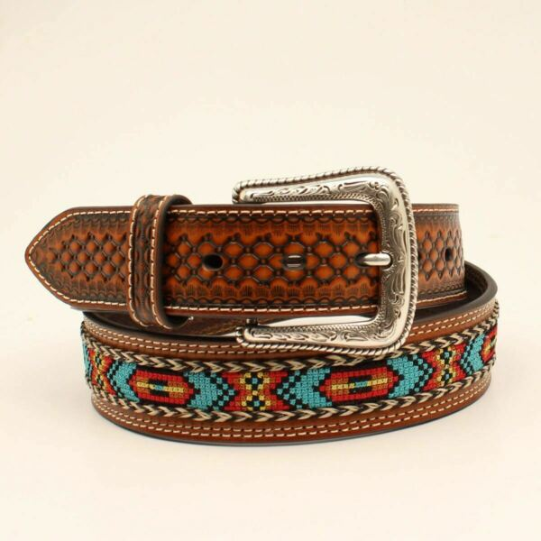 NOCONA MULTI COLORED RIBBON INLAY ACCESSORIES BELT MEN N210002102