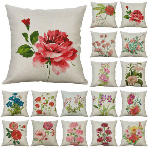 Decor Cushion Linen Cover Sofa Pillow Cotton Rose Case Print Peony Home $3.09