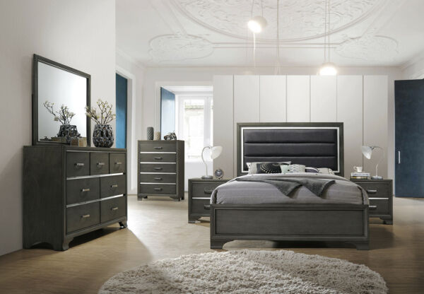Kings Brand Furniture - Gray with Faux Leather Headboard King Size Bedroom Set