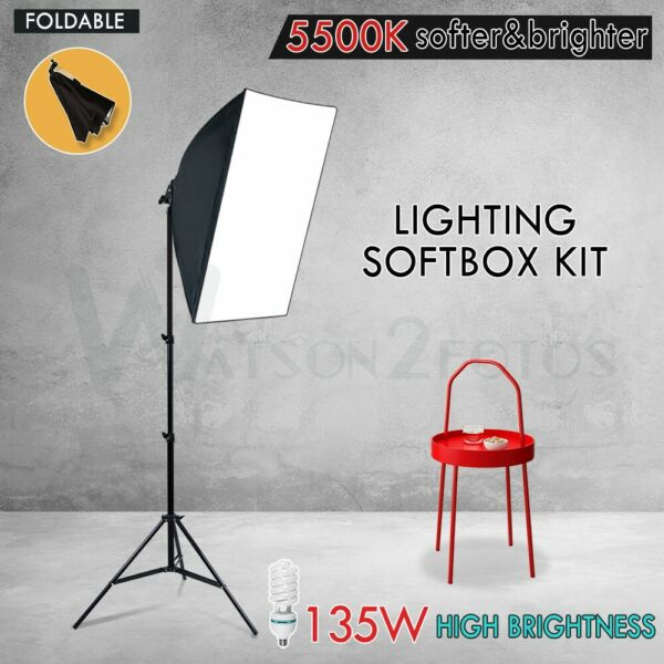 135W Soft Box Light Kit Photography Studio Continuous Softbox Lighting Stand Set
