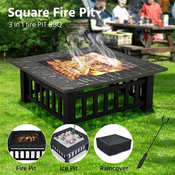32quot; Metal Square Fire Pit Outdoor Brazier as Backyard Patio Garden Stove Black