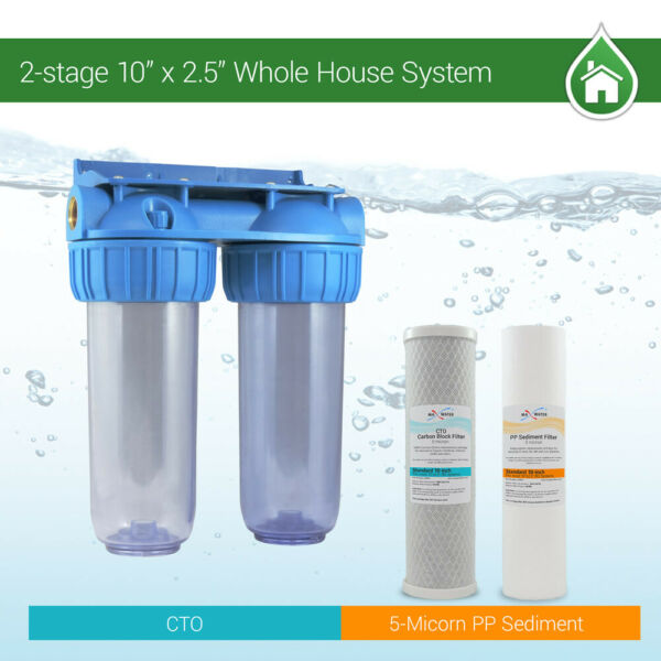 2 Stage 10quot; Whole House Water Clear Filter Housing Sediment CTO RVS.WELL.BOILER