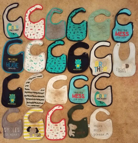 Lot of 22 Baby Bibs w Snap Closure Buttons by Carters Used