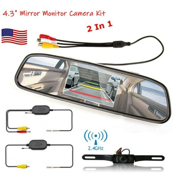Wireless Car Backup Camera Rear View System Night Vision 4.3quot; Mirror Monitor