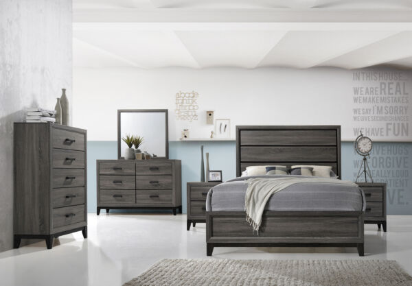 Kings Brand Furniture - Ambroise 6-Piece Queen Size Bedroom Set, Grey/Black