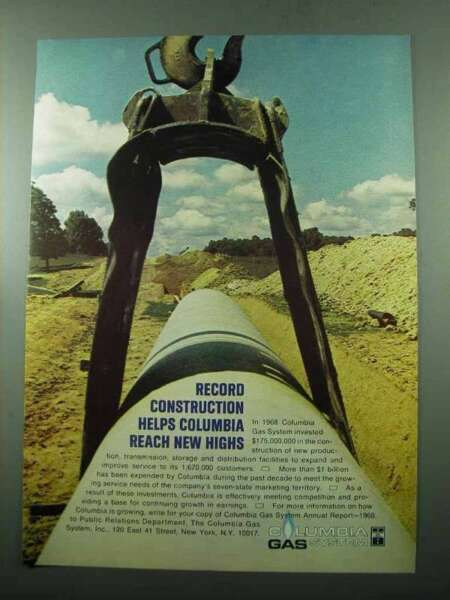 1969 Columbia Gas System Ad Record Construction $16.99