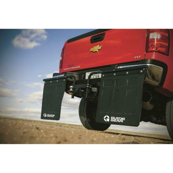 Hitch Mounted Mud Flaps Heavy Duty Rubber Adjustable Powder Coated Center Hub $158.58