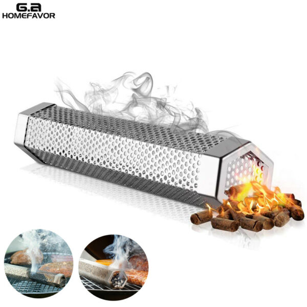 Stainless Steel BBQ Grill Smoker Box Tube for Wood Pellet Pipe Smoking Meat