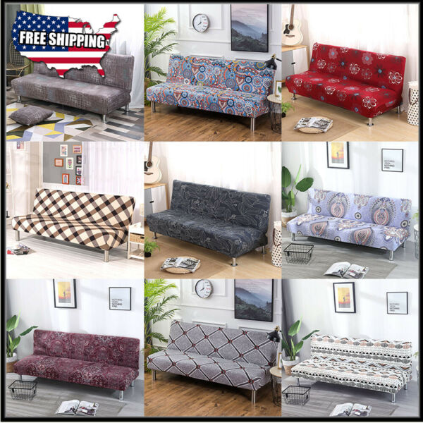 Stretch Full Folding Sofa Bed Cover Armless Elastic Futon Slipcover Couch Covers $22.99
