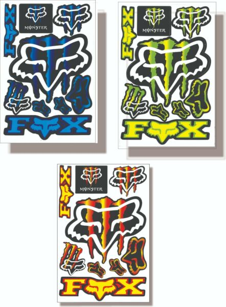 Stickers Fox Racing amp; Monster for Motorcycles and Bikes USA Shipping $12.00