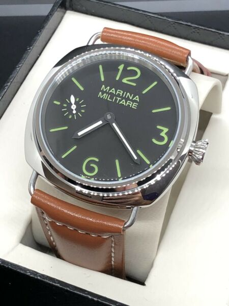 Marina Militare Small Seconds Automatic 44mm Black Dial Green Watch US Seller $175.00