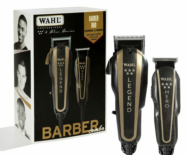 Wahl 8180 5 Star Series Barber Combo Legend Clipper and Hero Trimmer Black Gold