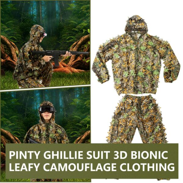 Hunting Ghillie Suit 3D Leafy Camo Clothing for Wildlife Photography More Zipper