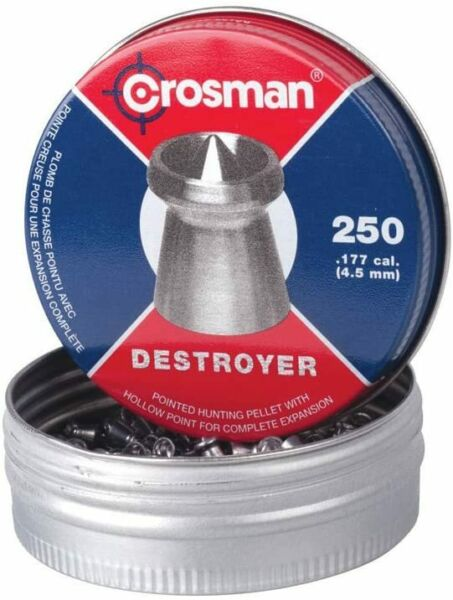 CROSMAN 250 Count DESTROYER Pointed Dished Rim .177 Hunting Target Pellets DS177 $11.95