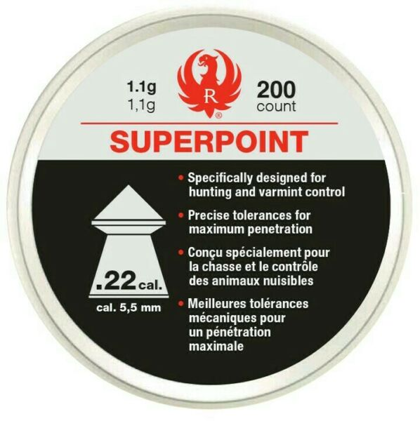 200ct Ruger SUPERPOINT by UMAREX .22 Cal 1.1g Pellets 5.5mm Hunting amp; Varmint $14.44