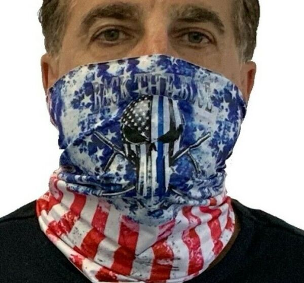 Back The Blue USA Neck Gaiter Breathable Washable Reusable Face Mask Covering