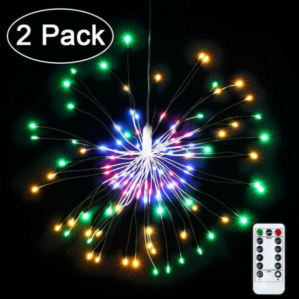 2 Pack LED Decorative Lights 8 Modes 100 LED Dimmable Fairy Lights firework