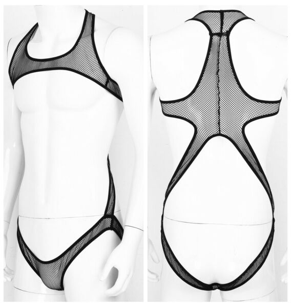 Men Open Chest Bodysuit Leotard Jockstrap Jumpsuit Underwear Wrestling Singlet