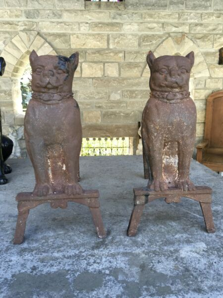 ANTIQUE PSamp;W CAST IRON BULLDOG ANDIRONS MATCHING PAIR SPIKE COLLAR STUNNING