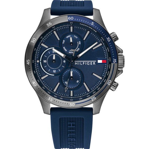 Tommy Hilfiger Sub Dial Blue Silicone Strap Multi Function Men's Watch 1791721 $129.95