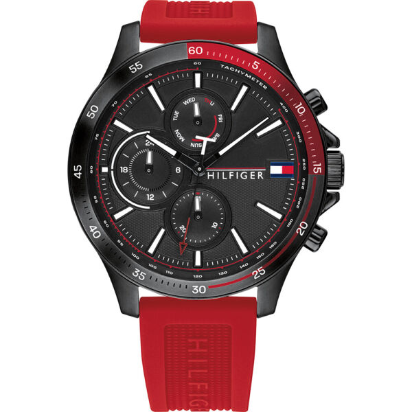 Tommy Hilfiger Sub Dial Red Silicone Strap Multi Function Men's Watch 1791722 $139.95