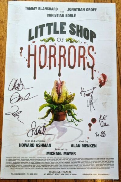 Little Shop of Horrors Poster signed Cast x7 Jonathan Groff Christian Borle