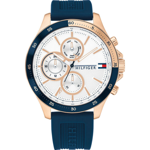 Tommy Hilfiger Blue Silicone Strap Rose Gold Multi Function Men's Watch 1791778 $139.95