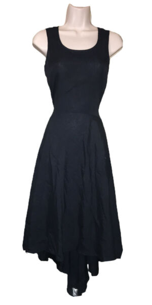 Lush Bazaar Black Sleeveless Linen Fit Flare Swing Dress W Pockets Size Medium $27.00