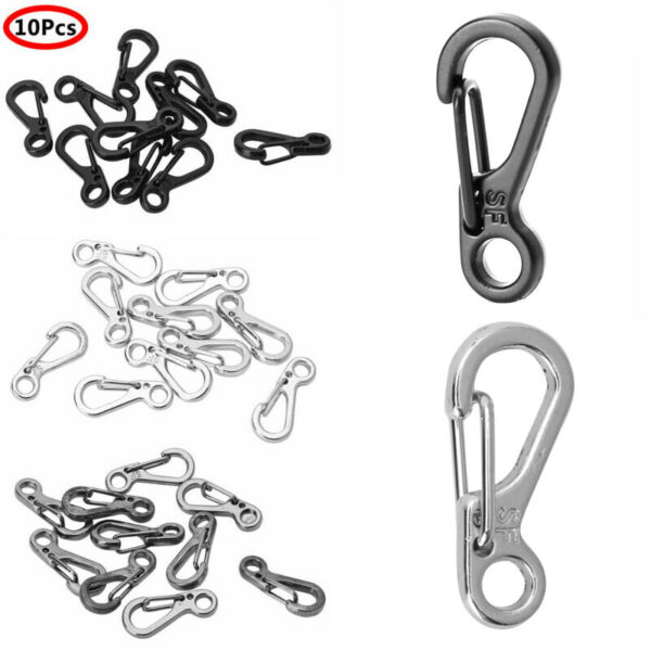 10 Mini SF Metal Carabiner Clips Tiny Snap Hooks Spring Clasp Keychain Paracord $5.99