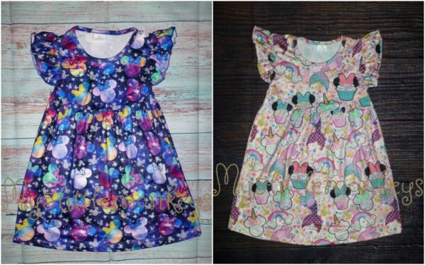 NEW Boutique Minnie Mouse Space Cupcake Mermaid Unicorn Girl Girls Pearl Dress