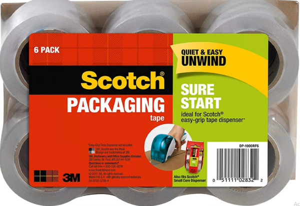 Scotch Sure Start Shipping Packaging Tape 1.88quot; x 900Clear 6 Pack DP 1000RF6 $14.99