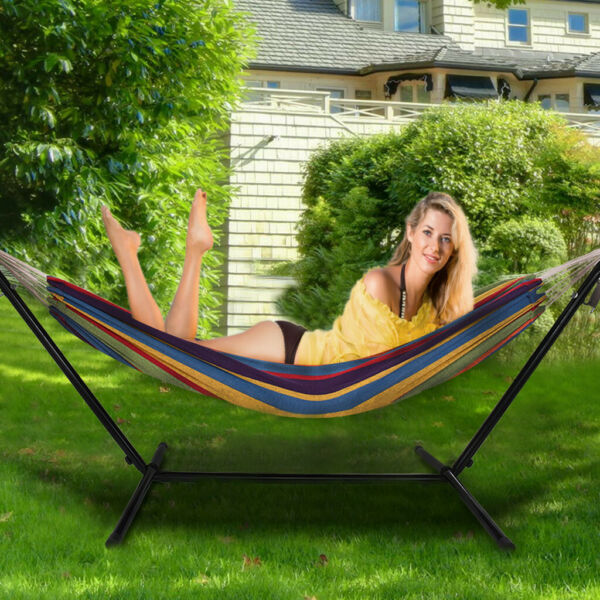 10ft Double Person Patio Lawn Portable Hammock Stand Carrying Case amp; Wheel Kit $74.79