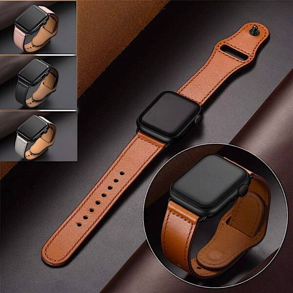 Genuine Leather Apple Watch Band For iWatch Series 6 5 4 3 2 38mm 40mm 42mm 44mm
