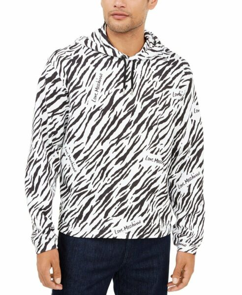 Love Moschino Men#x27;s Zebra Hoodie White $75.00