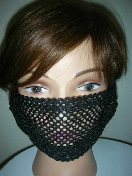 """""""SEXY Black amp; Silver Mesh"""" ANTI MASK Hand Made Washable"""