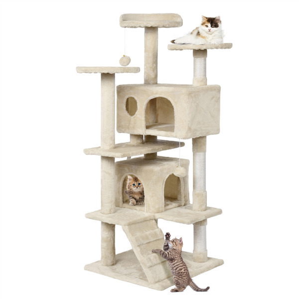 51'' Cat Tree Tower Pet Furniture Activity Play House w Perches Hammock Used $48.99