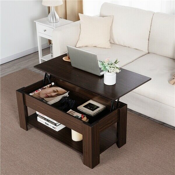 Modern Lift Top Coffee Table w Hidden Storage amp; Shelf For Living Room Reception