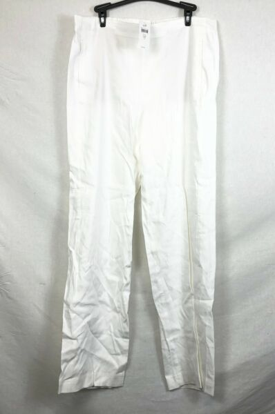 NEW J. Jill White Easy Linen Stretch Flat Front Pants Size 14T $19.95