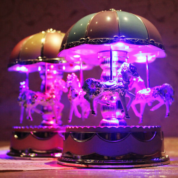 Music Box Carousel Merry Go Round LED Light Toy for Girl Friend Birthday Gift