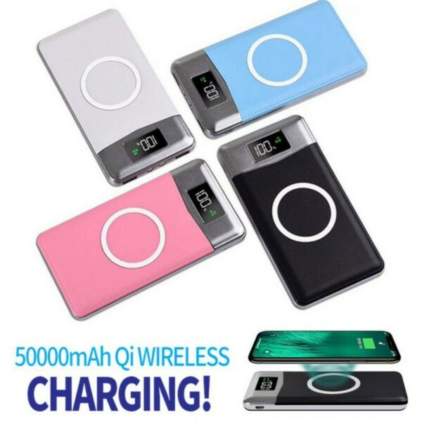 2USB LCD LED 50000mAh Power Bank Qi Wireless Charging Charger Battery Charger