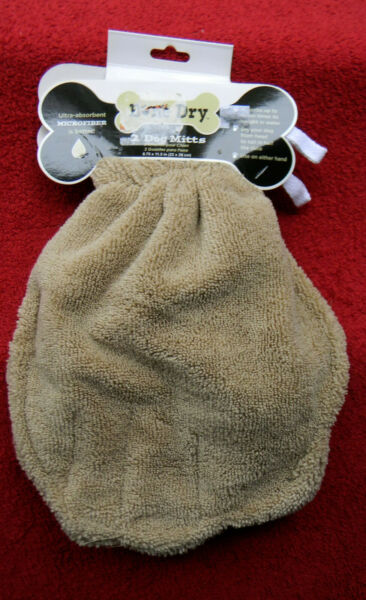 BONE DRY 2 Microfiber Dog Mitts Ultra Absorbent Reusable 8.75quot; x 11.5quot; NWT $10.99