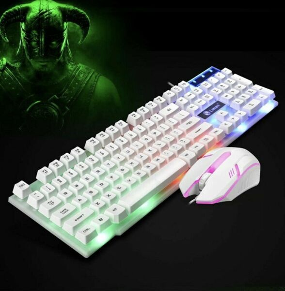 Yangiug Gaming LED Backlight Mechanical for PC Wired USB Mouse Keyboard Kit Keyb