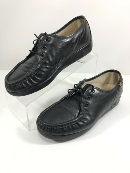 SAS Womens Siesta Comfort Shoes Black Lace Up Moc Toe Wedges 7 1 2 W $19.99