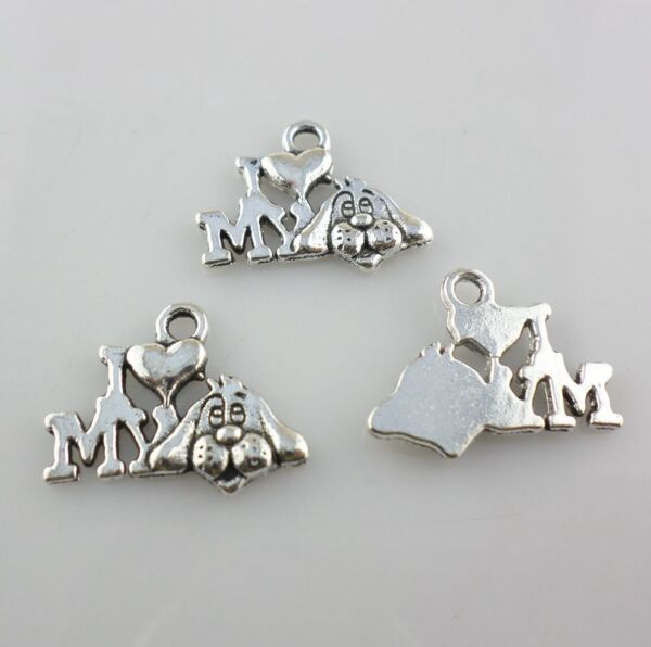 Mixed Set 10 New LOVE MY DOG Charms Tibetan Silver Alloy TWO of EACH FREE SHIP $3.00