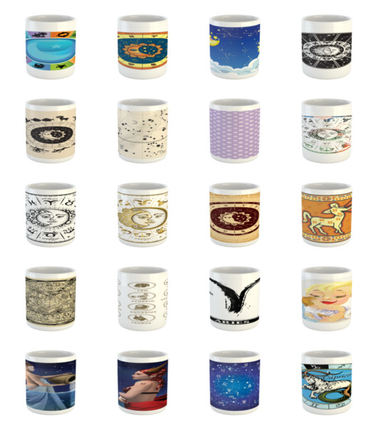 Ambesonne Astrology Art Ceramic Coffee Mug Cup for Water Tea Drinks 11 oz