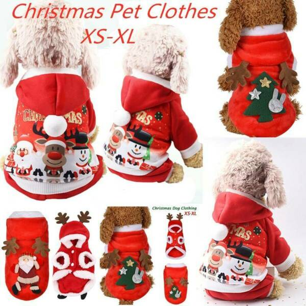 Pet Cat Santa Costume Dog Christmas Small Coat Clothes Hoodie Jumper Xmas Outfit $4.99